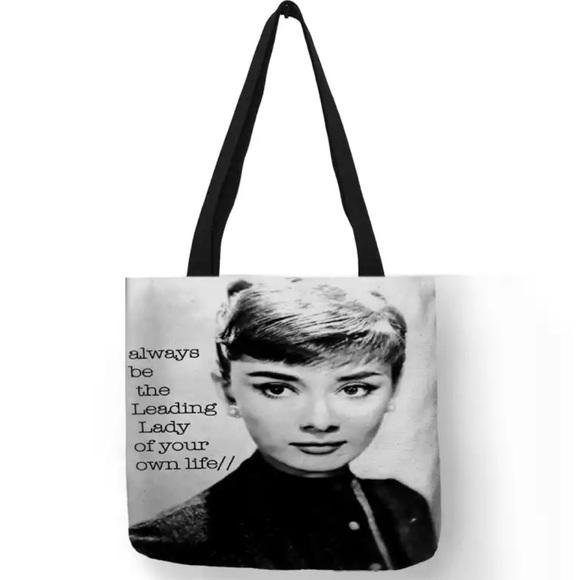 "Inspired Closet Handbags - NEW! Audrey Hepburn ""Be the Leading Lady"" Tote Bag"